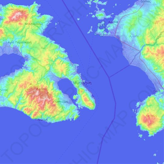 Mytilene topographic map, relief map, elevations map