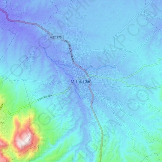 Miahuatlán topographic map, relief map, elevations map