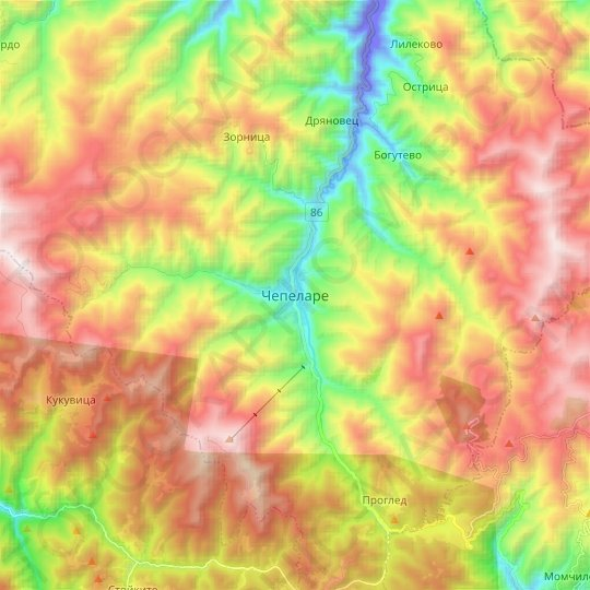 Tchepelare topographic map, relief map, elevations map