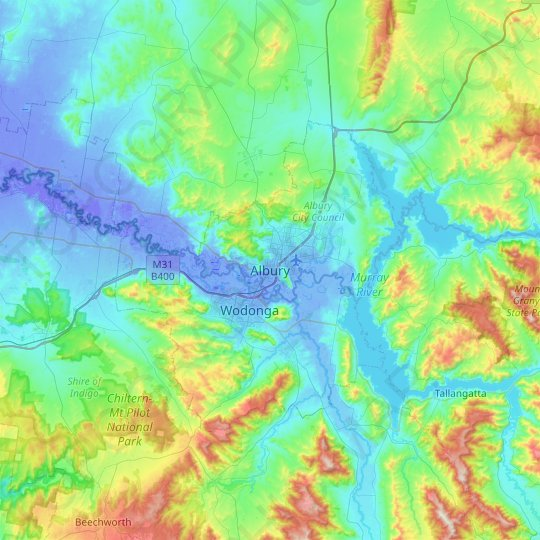 Albury topographic map, relief map, elevations map