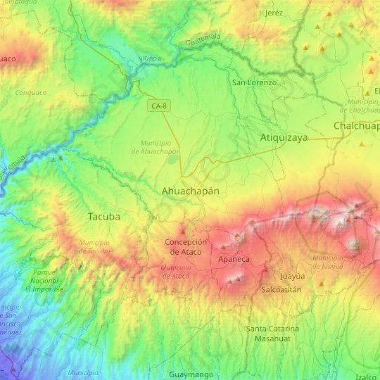 Ahuachapán topographic map, relief map, elevations map