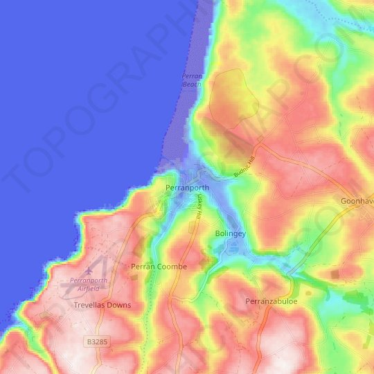 Perranporth topographic map, relief map, elevations map