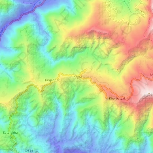Chopta topographic map, relief, elevation