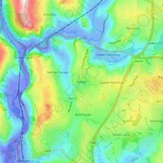 Heage topographic map, relief map, elevations map