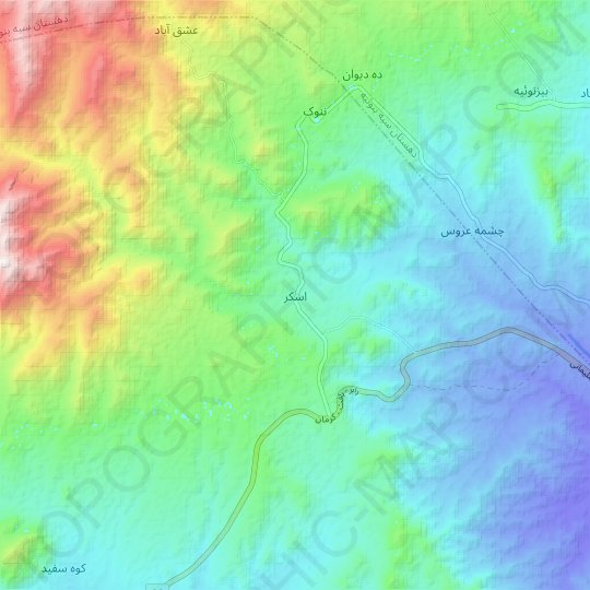 Esker topographic map, relief map, elevations map