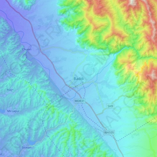 Baddi topographic map, relief map, elevations map