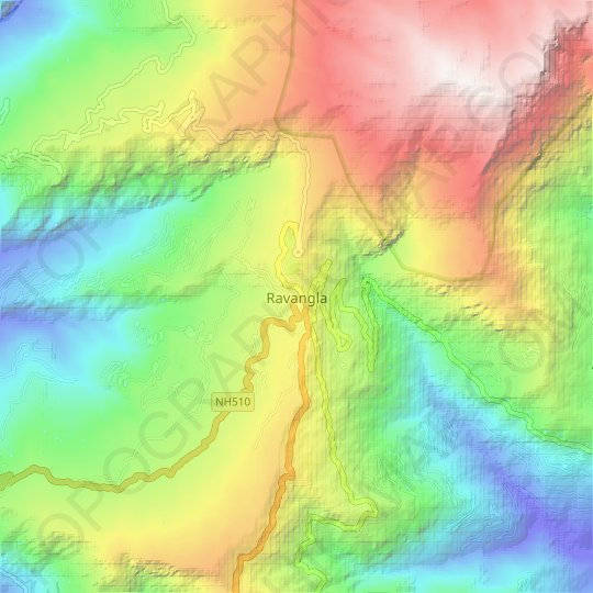 Ravangla topographic map, relief map, elevations map