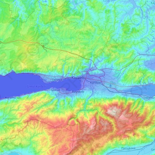 İzmit topographic map, relief map, elevations map
