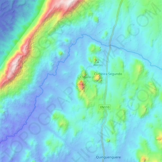 Umbi topographic map, relief map, elevations map