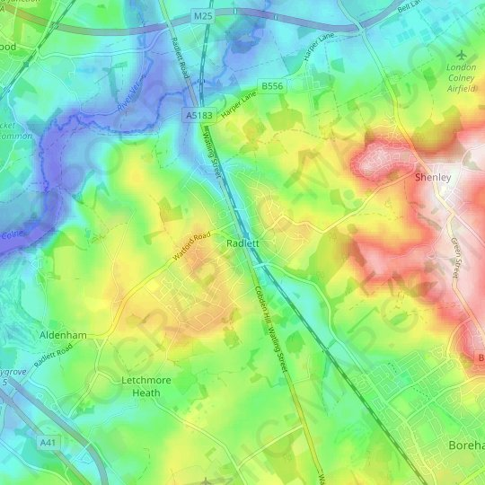 Radlett topographic map, relief map, elevations map