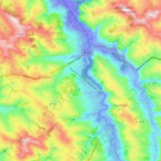 Caubios topographic map, relief map, elevations map