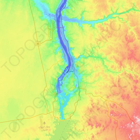 Aswan topographic map, relief map, elevations map