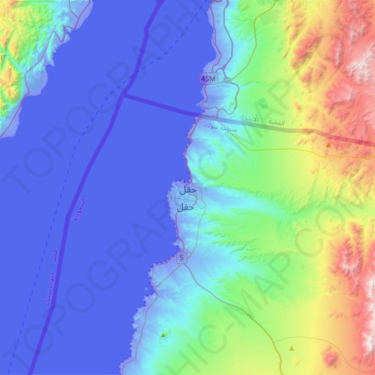 Haql topographic map, relief map, elevations map