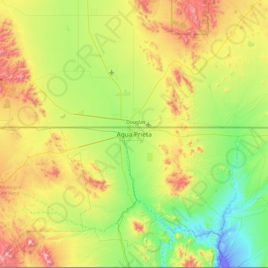 Agua Prieta topographic map, relief map, elevations map