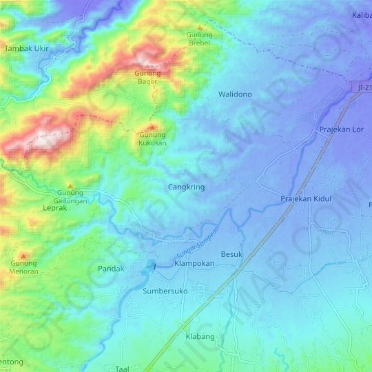Cangkring topographic map, relief map, elevations map