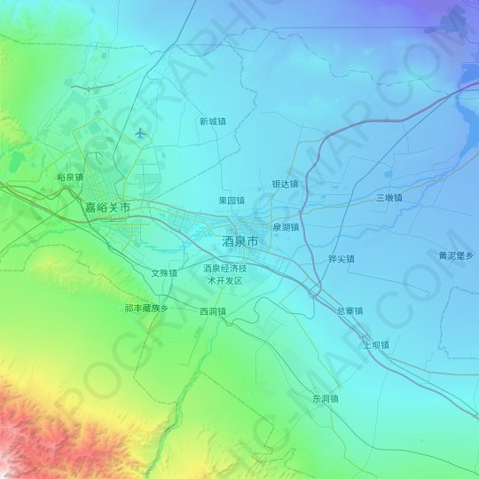 Jiuquan topographic map, relief map, elevations map