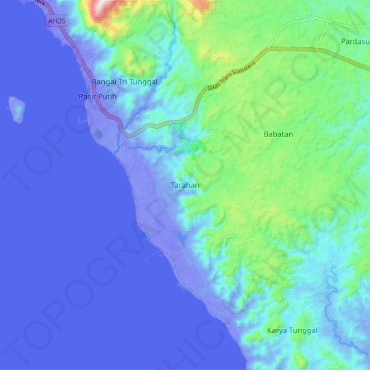 Tarahan topographic map, relief map, elevations map