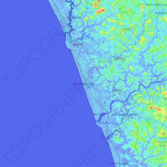 Kozhikode topographic map, relief map, elevations map