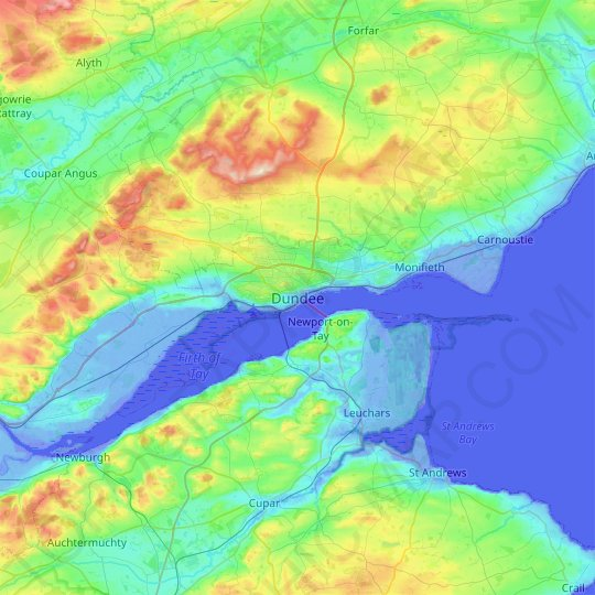 Dundee topographic map, relief map, elevations map