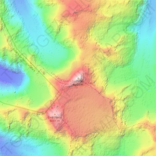 Indrasan topographic map, relief, elevation