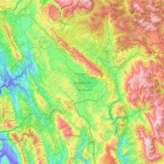 Ioannina Topographic Map Elevation Relief