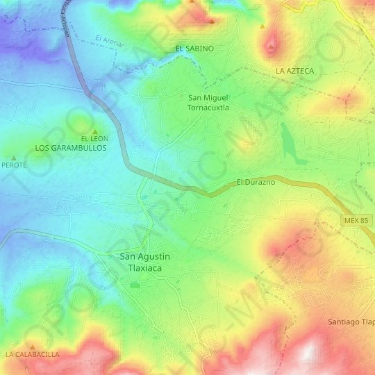 La Nopalera topographic map, relief map, elevations map