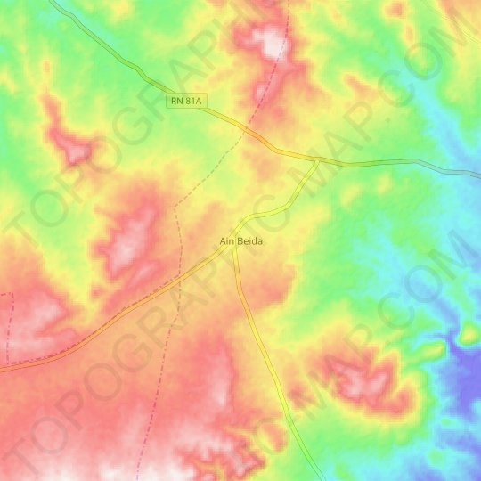 Ain Beida topographic map, relief map, elevations map