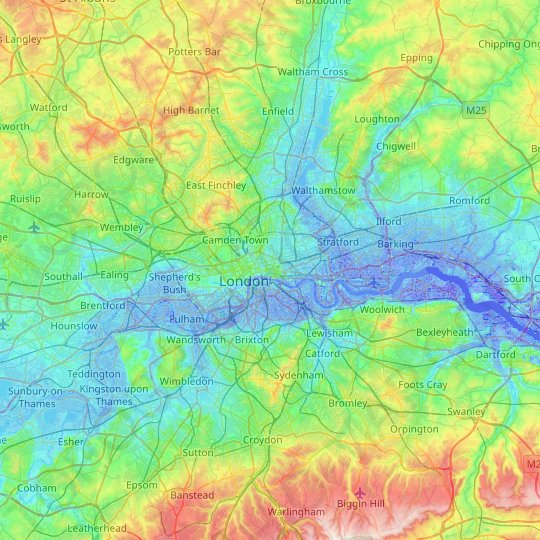 Map Of City Of London.City Of London Topographic Map Relief Map Elevations Map