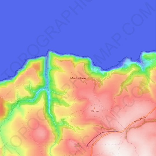 Martinhoe topographic map, relief map, elevations map