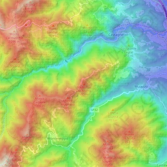 Madonna Del Monte topographic map, relief map, elevations map