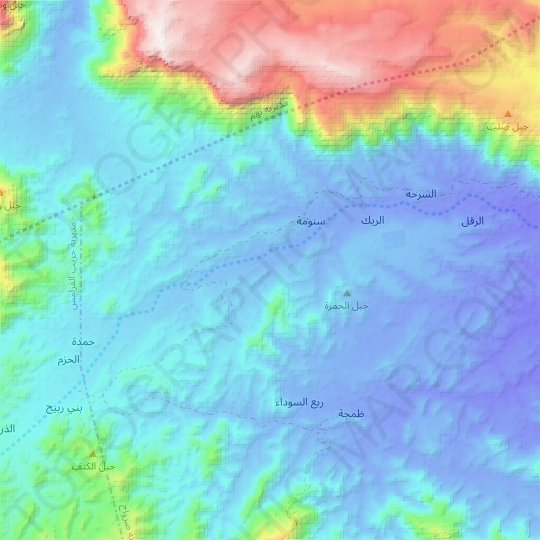 Al Bahah topographic map, relief map, elevations map