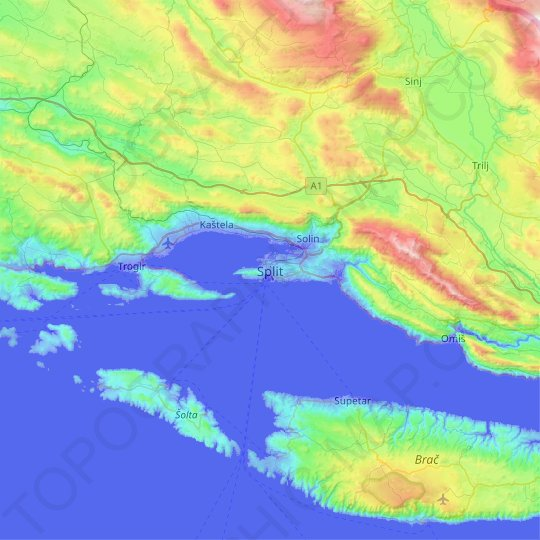 Split topographic map, relief map, elevations map