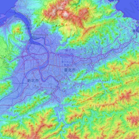 Taipei topographic map, relief map, elevations map