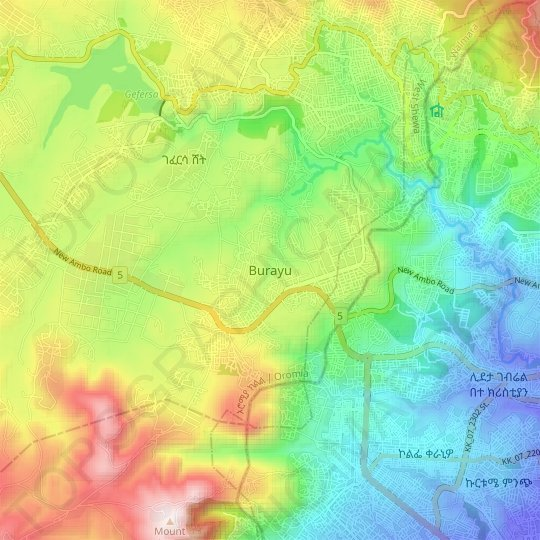 Burayu topographic map, relief map, elevations map