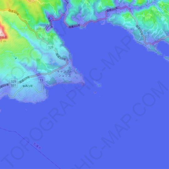 Ryukyu Islands Topographic Map Relief Map Elevations Map