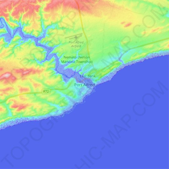 Port Alfred topographic map, relief, elevation