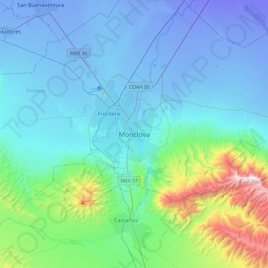 Monclova topographic map, relief map, elevations map