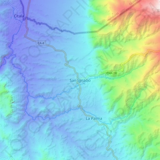 San Ignacio topographic map, relief map, elevations map