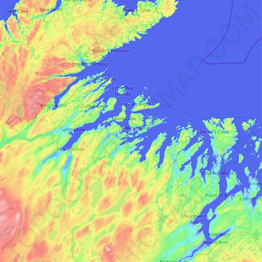 Pilley's Island topographic map, relief map, elevations map