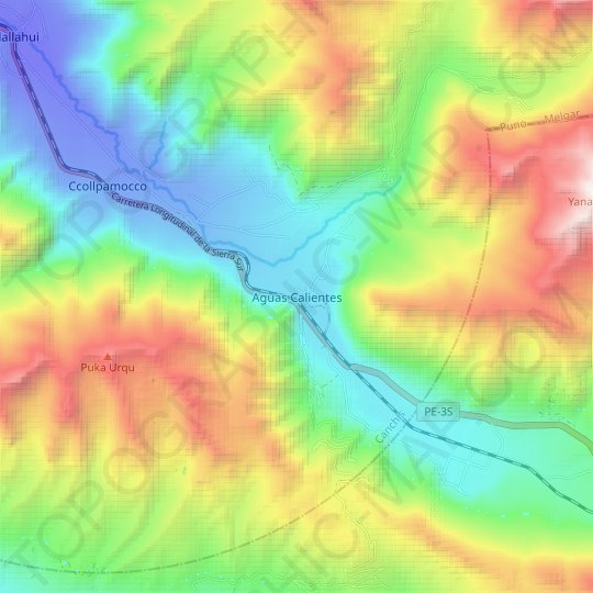 Aguas Calientes topographic map, relief map, elevations map