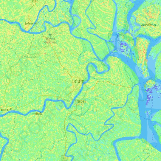 Barisal topographic map, relief map, elevations map
