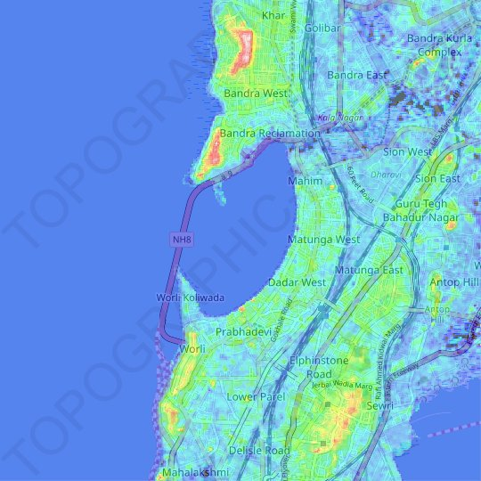 Mahim Bay topographic map, relief map, elevations map