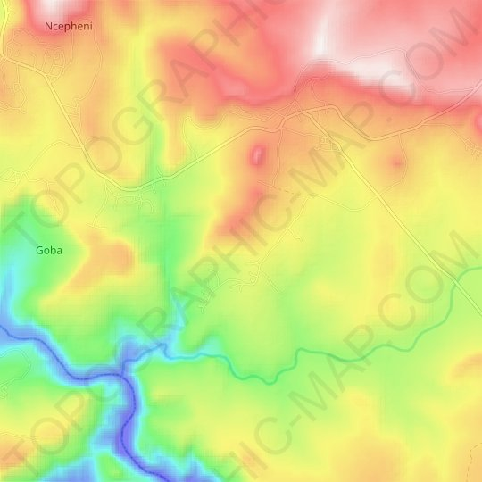 Nhloya topographic map, relief map, elevations map