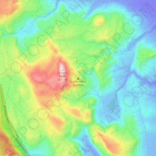 Long Valley Caldera topographic map, relief map, elevations map
