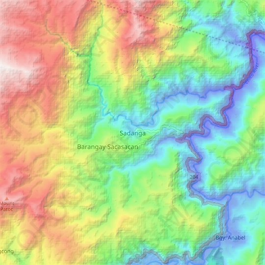Sadanga topographic map, relief map, elevations map