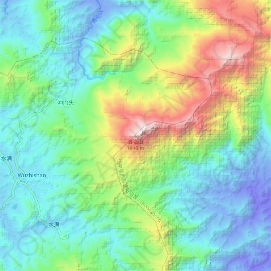 Wuzhi Mountain topographic map, relief map, elevations map