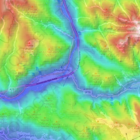 Raccolana topographic map, relief map, elevations map