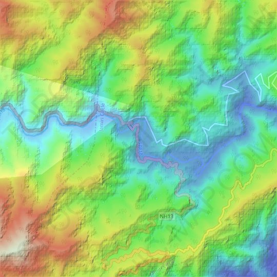 Fishing topographic map, elevation, relief