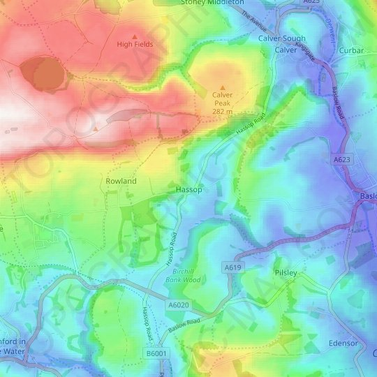 Hassop topographic map, relief map, elevations map