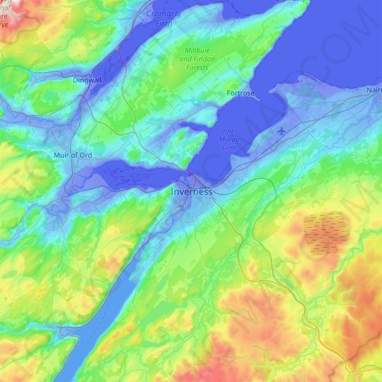 Inverness topographic map, relief map, elevations map